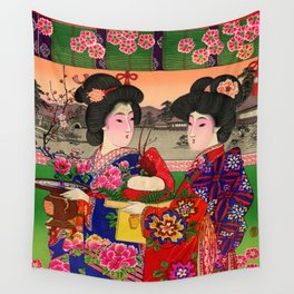 Two Geishas Wall Tapestry
