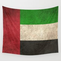 arab Wall Tapestries featuring Old and Worn Distressed Vintage Flag of United Arab Emirates by Jeff Bartels