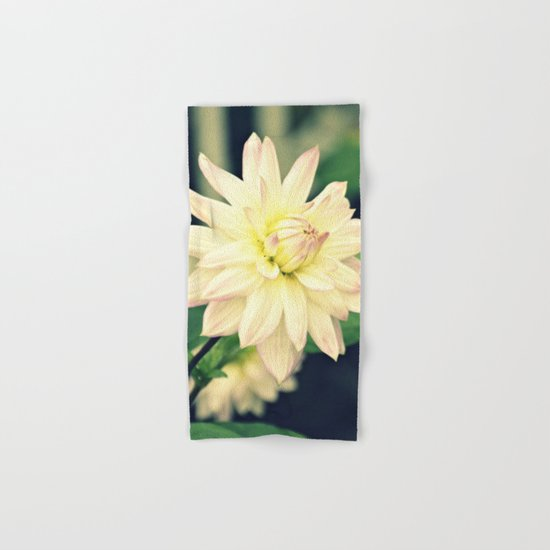 White dahlia retro Hand & Bath Towel