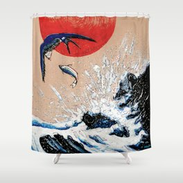Japan Wave  Shower Curtain