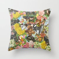 stickers Throw Pillows featuring Pet Stickers by Deborah Landry