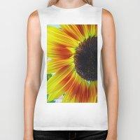 sunflower Biker Tanks featuring Sunflower by Frankie Cat