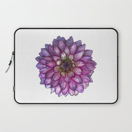 Dahlia Purple & White with water droplets Laptop Sleeve
