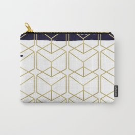 Blue & Gold Hexagon Carry-All Pouch