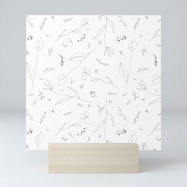 Botanical Line Pattern // Line Drawings Seamless Repeat // Black and White Flower Drawings // Minimalistic Floral Print Mini Art Print