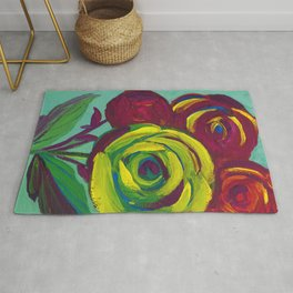 Colorful Cluster of Roses Rug