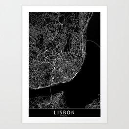 Lisbon Black Map Art Print