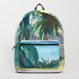 La Gomera Valle Gran Rey View with Palms Backpack