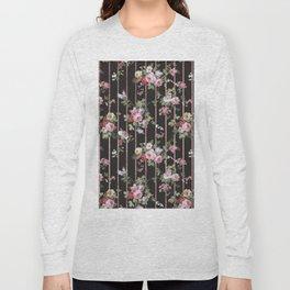 Elegant faux rose gold black stripes vintage blush pink lavender floral Long Sleeve T-shirt