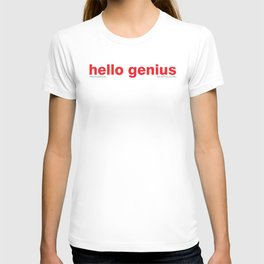 hello genius print T-shirt