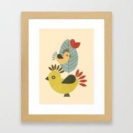 Three Birds and a Leaf Framed Art Print