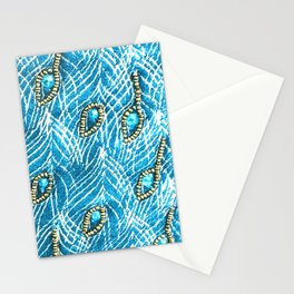Peacock Feathers in Glamorous Aqua-Sky Blue Diamonds Stationery Cards