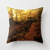 denmark Throw Pillows featuring Forest Haslev, Denmark - Autumn by by Henrik Wulff Petersen (zoomphoto)