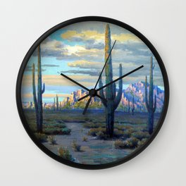 Superstition Mountains and Desert Landscape by John Marshall Gamble Wall Clock