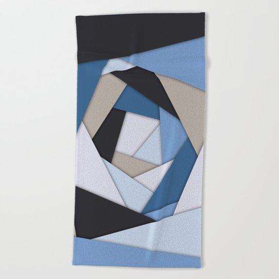 Abstract Blues Geometric Layers Beach Towel
