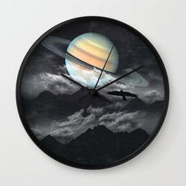 Saturn above mountains Wall Clock
