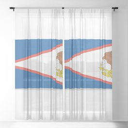 Flag of American Samoa. The slit in the paper with shadows. Sheer Curtain