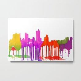 Fort Worth Skyline Puddles -  Metal Print