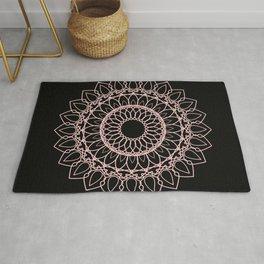 Mandala Black and Blush Pink Rug