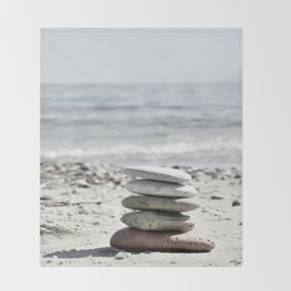 Balancing Stones On The Beach Throw Blanket