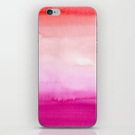 watercolor gradient in pink and red iPhone Skin