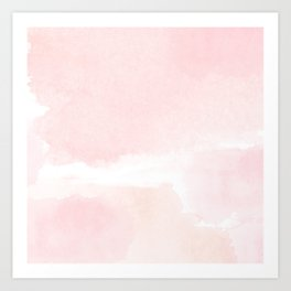 Pastel pink white modern hand painted watercolor. Art Print