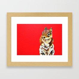 Chipmunk On a Burst of Red Framed Art Print