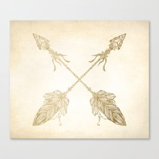 Tribal Arrows Gold on Paper Canvas Print