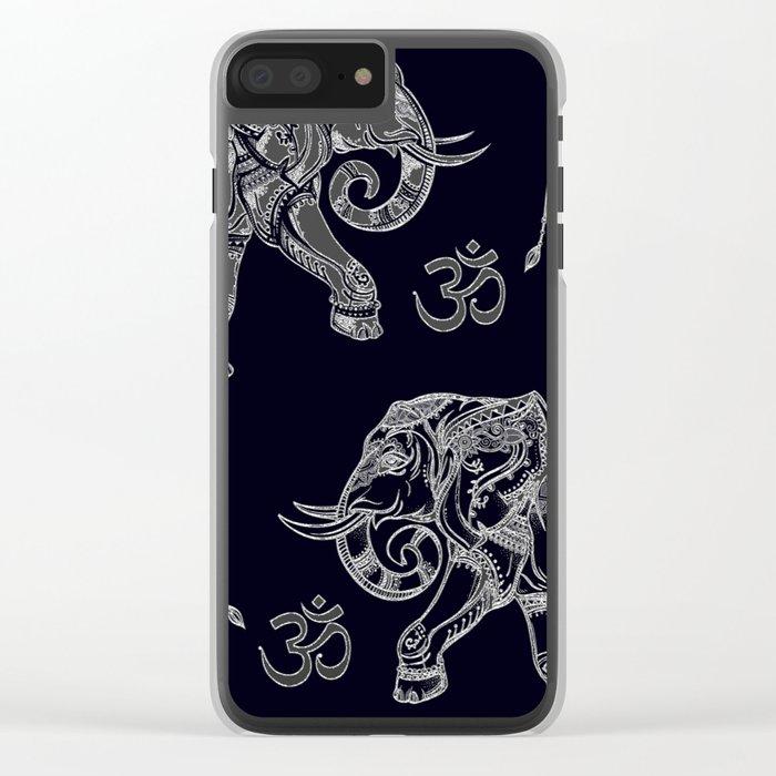 Elephants Pattern on Black Clear iPhone Case