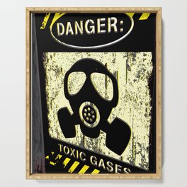 Danger toxic gases mask Serving Tray