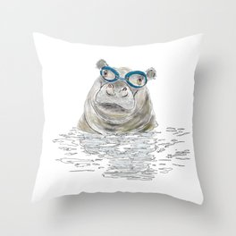 Hippo with swimming goggles Throw Pillow
