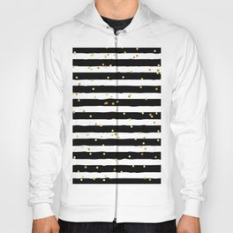 Hand drawn pattern, black and white stripes and gold dots Hoody