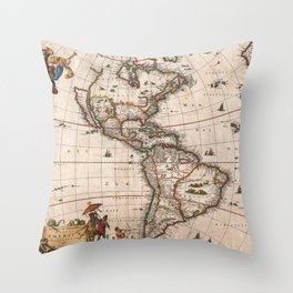 North & South America map 1658 with 2017 enhancements Throw Pillow