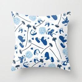 Blue Pandas Throw Pillow