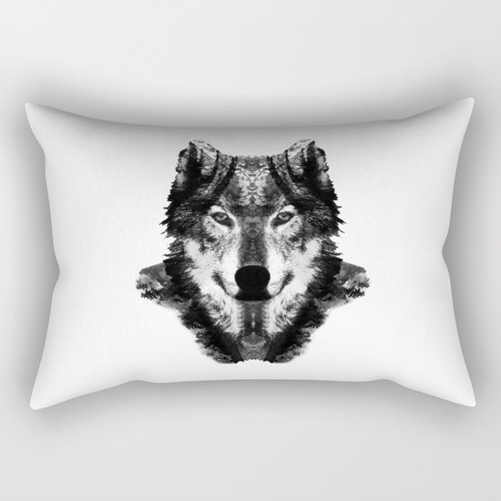 The Black Forest Wolf Rectangular Pillow