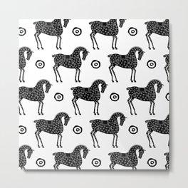 Folk Art Horse Pattern Black-White Metal Print