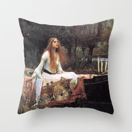 The lady of shalott painting  Throw Pillow