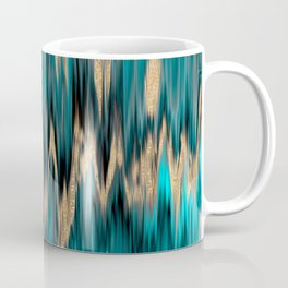 Turquoise and Gold Ikat Pattern Coffee Mug