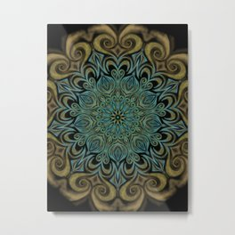 Teal and Gold Mandala Swirl Metal Print