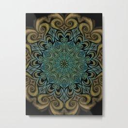Teal and Gold Mandala Swirl Metal Print