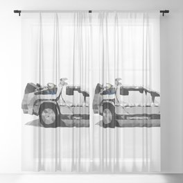 Delorean Low poly Sheer Curtain