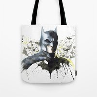superhero Tote Bags featuring Superhero by Sagas Ateljé