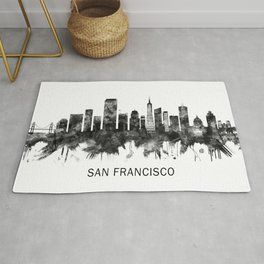 San Francisco California Skyline BW Rug