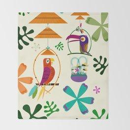 Vintage Modern Tiki Birds Throw Blanket