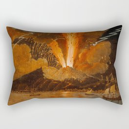 Mount Vesuvius erupting at night, billowing clouds and flashes of lightning Rectangular Pillow
