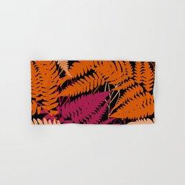 leafs tropical fern palm. orange pink brown silhouette on Black background Hand & Bath Towel