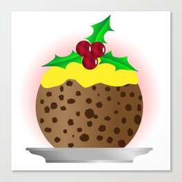 Christmas Pudding With Custard And Holly Sprig Canvas Print