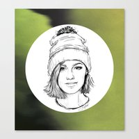 jenna kutcher Canvas Prints featuring JENNA. by paintparamore