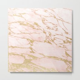 Blush pink abstract gold glitter marble Metal Print