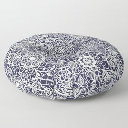 Lace on Nautical Navy Blue Floor Pillow